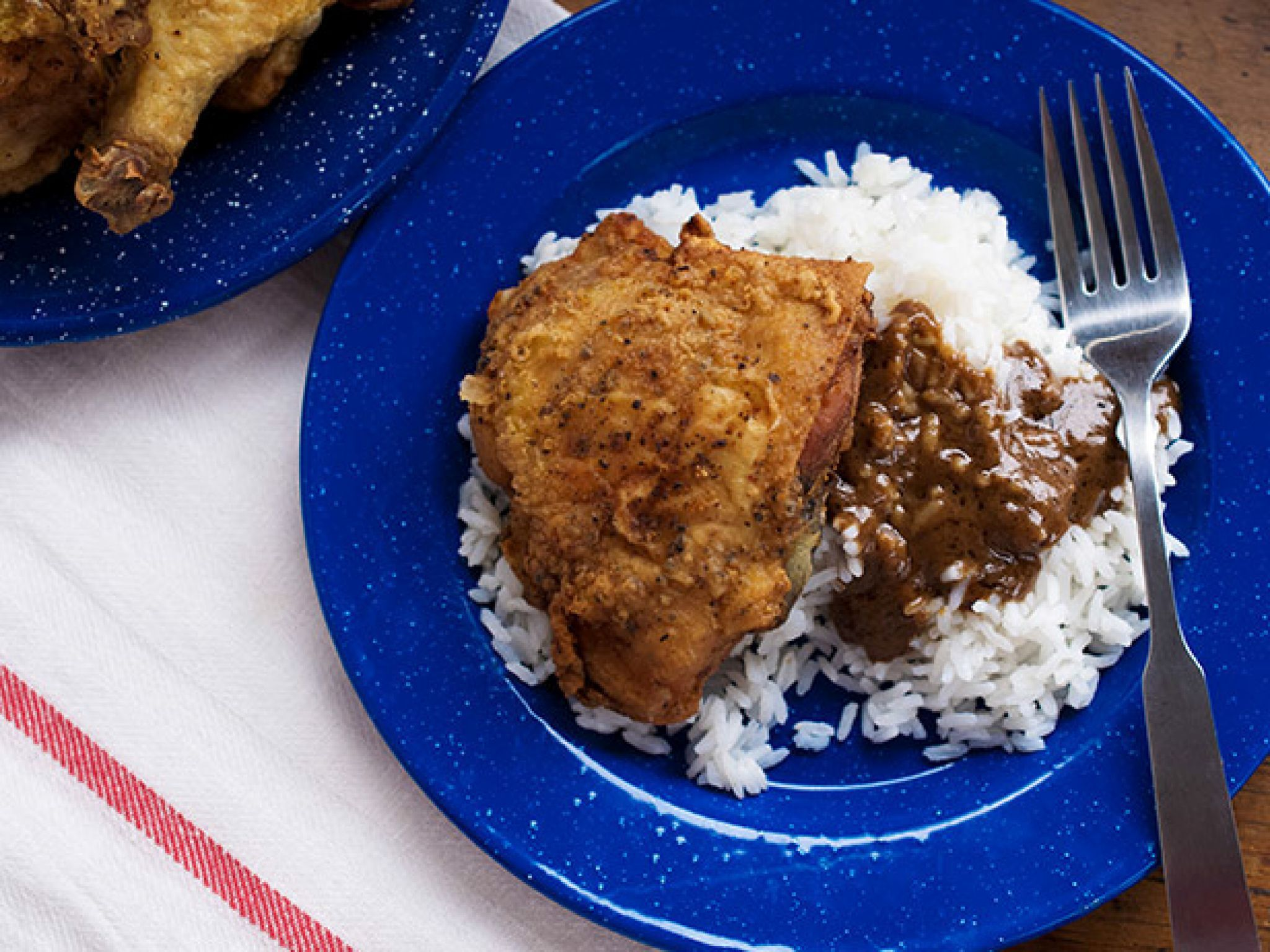 Skillet Fried Chicken with Black Pepper Gravy recipe  via Food Network