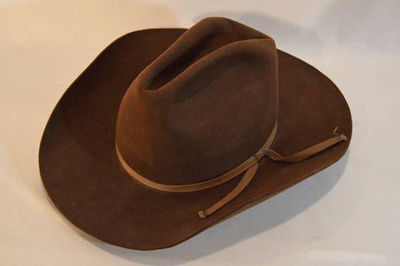 18de8335de3 Vintage 10X Quality Beaver Brand Brown Beaver Felt 7 1 8 Cowboy Hat ...
