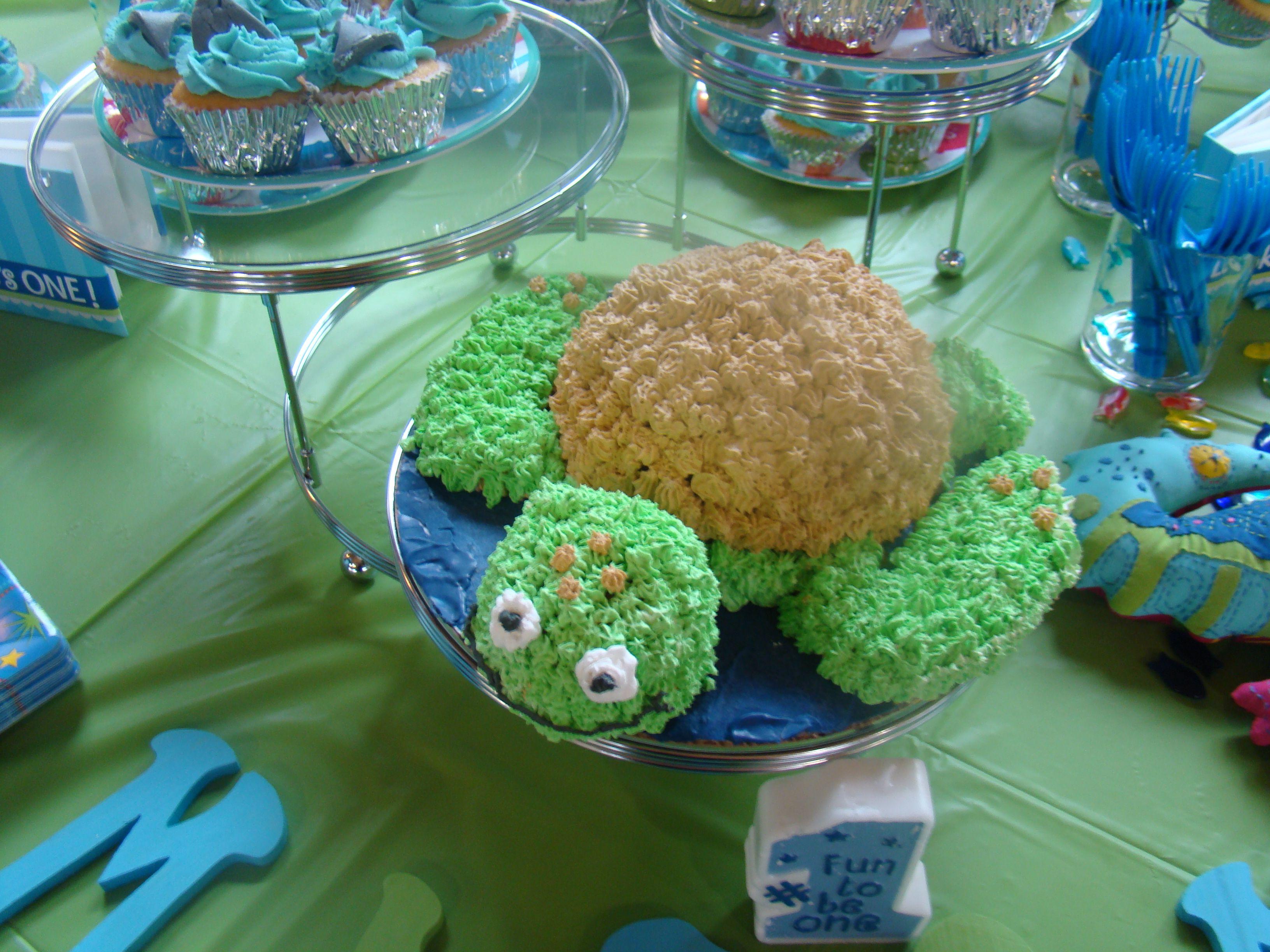 Aquarium themed 1st birthday at the zoo. Smash cake.