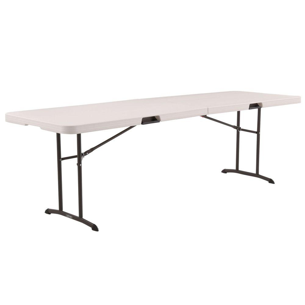 Lifetime 96 In Almond Plastic Portable Fold In Half Folding Banquet Table 80175 The Home Dep Wood Console Table Folding Table Reclaimed Wood Console Table