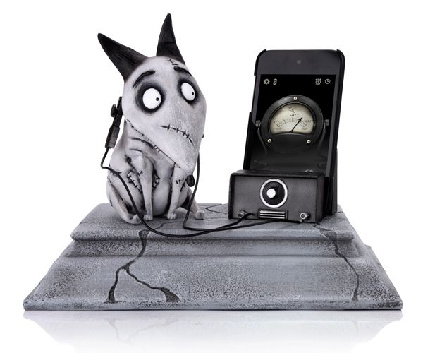 Frankenweenie Phone Charging Statue.     It's alive! Enjoy this limited edition hand-painted polystone and vinyl statue from Tim Burton's latest, Frankenweenie. Use is to charge up your personal phones and watch the bolts on Sparky's neck blink red as the device charges, and turn green when the device is fully charged. The charging dock also comes with a free app that displays a thematic clock and charging gauge to complete the look!  $124.99