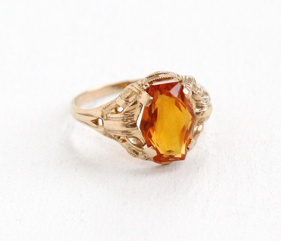 Sale Vintage 10k Yellow Gold Citrine Ring Size By Maejeanvintage Fine Antique Jewelry Orange Gemstone Citrine Ring
