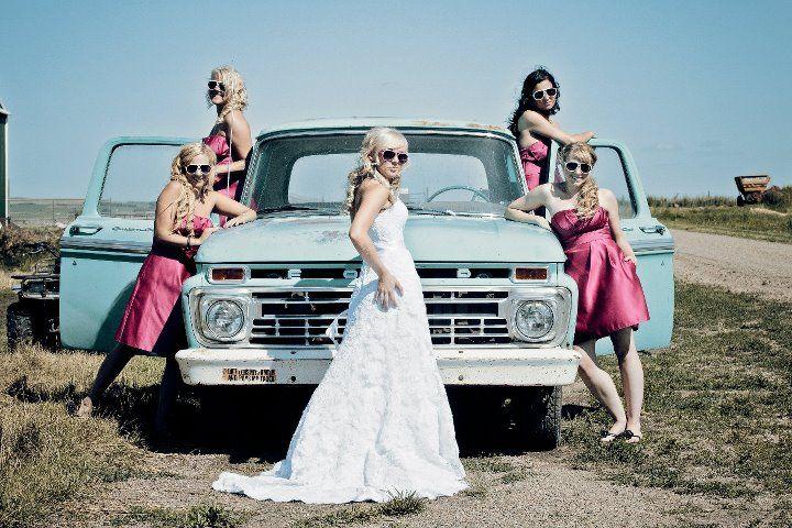 Bride+Bridesmaids. Country style. soo cute; but its gotta be chevyyyyyyyyyy.