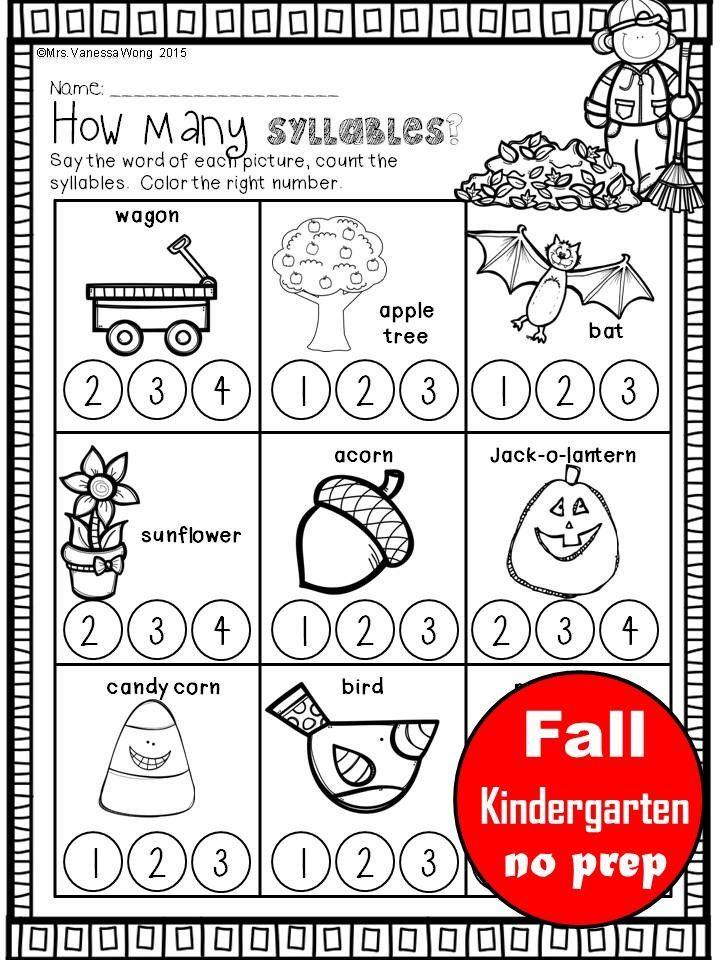 Fall Activities For Kindergarten Math And Literacy No Prep Printables Free Kindergarten Worksheets Kindergarten Worksheets Printable Kindergarten Worksheets Fall literacy activity for kindergarten