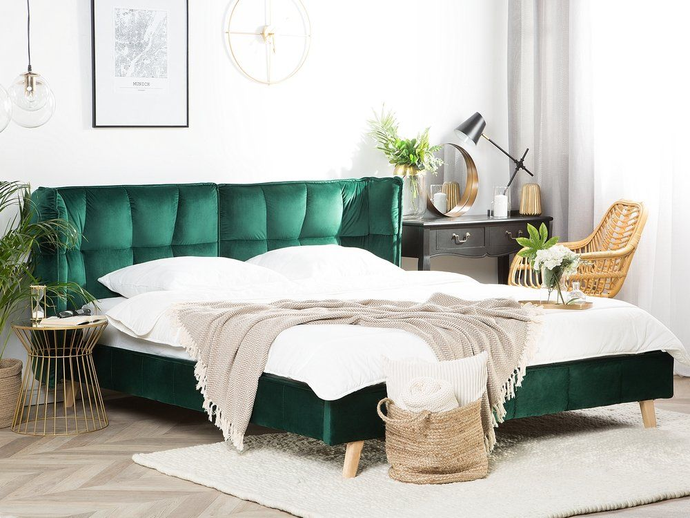 Velvet EU King Size Bed Emerald Green SENLIS Camere da