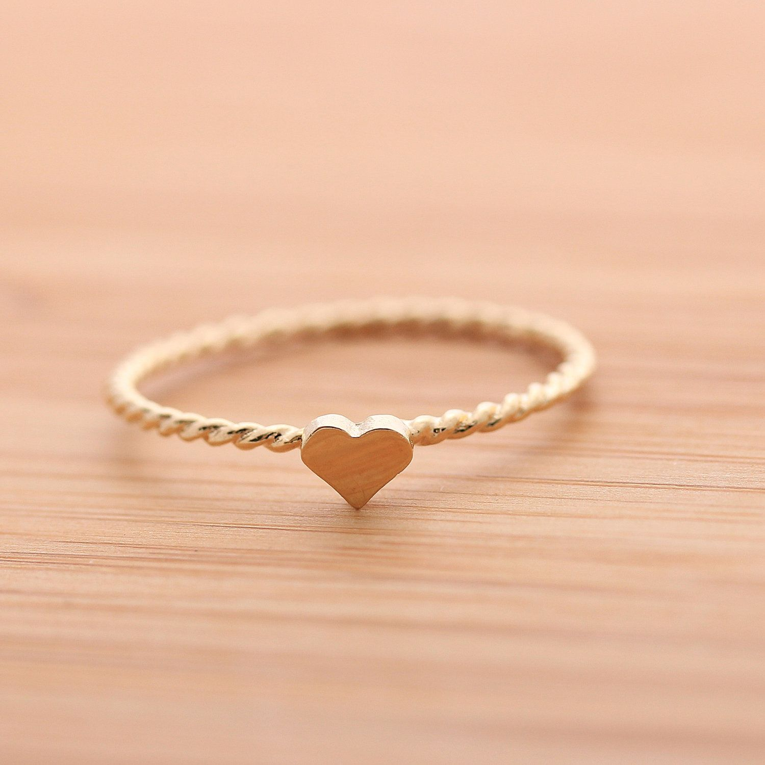 Tiny Heart Ring With Twisted Band In 925 Sterling 18 00