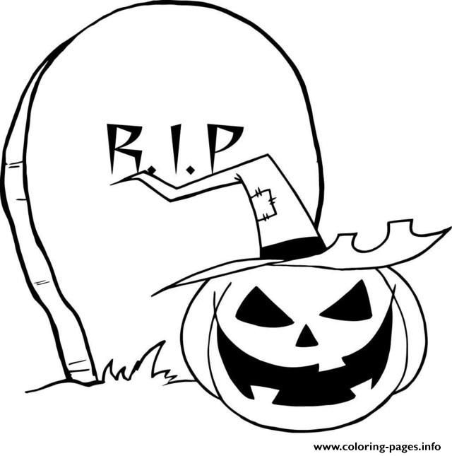 Print Rip Gravestone Pumpkin Halloween Coloring Pages Halloween