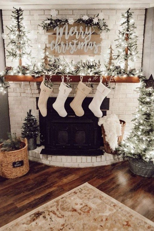 Winter Fireplace Decoration Ideas 00028 Christmas Fireplace Decor White Christmas Decor Christmas Mantel Decorations