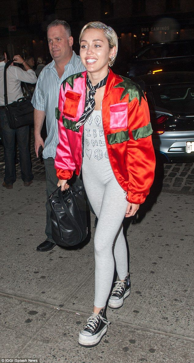 b87ce2e11953 Wild child  Miley Cyrus arrived at Up   Down nightclub in New York City on  Tuesday evening rocking a strange combination of clothing