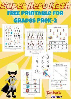 Free Super Hero Math Printable  Download a free Super Hero math printable for Pre-K through 2nd grade.