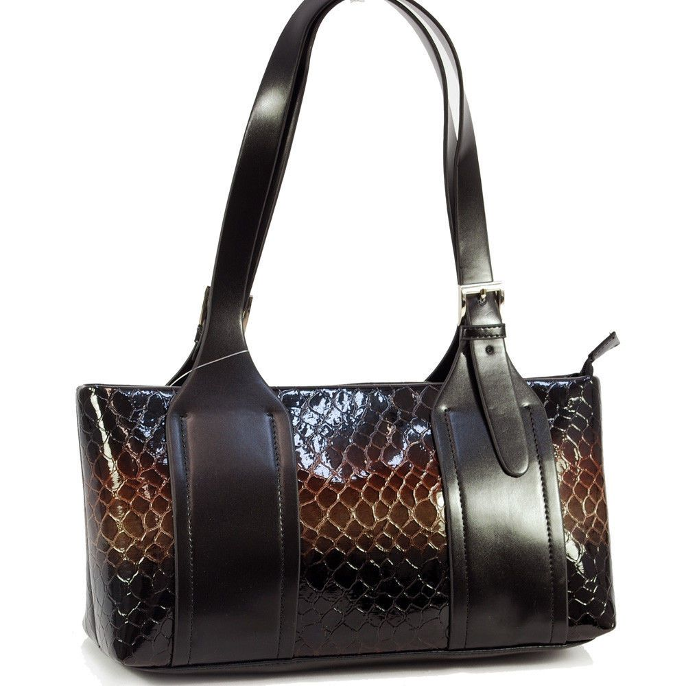 Vani Brown Croc Shoulder Bag Purse W Buckle Accent Black Straps