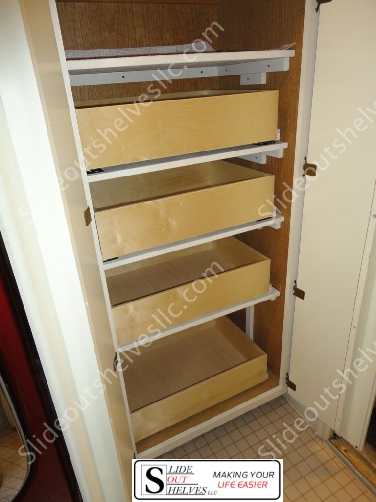 Adding Pull Out Shelves Inside Of A Closet Pantry Makes Everything