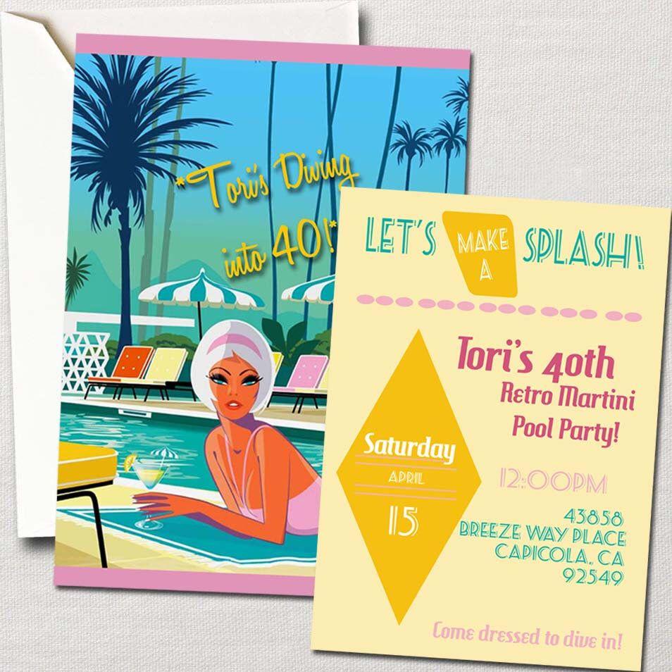 60\'s Retro Mod Martini Pool Party Invitation~ DIY Printable Set ...