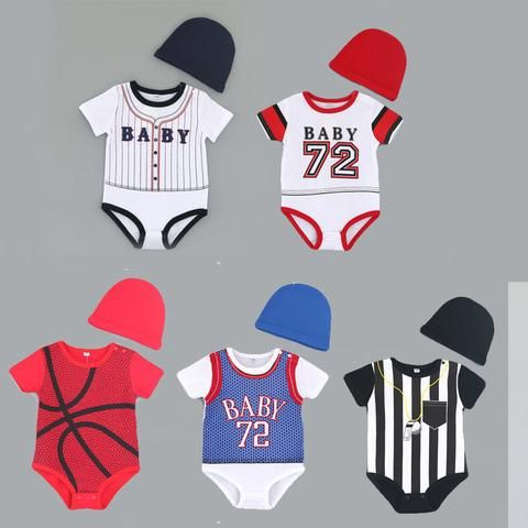 1f43374aa 2pcs Summer kids clothes new born baby boys rompers+hat short ...