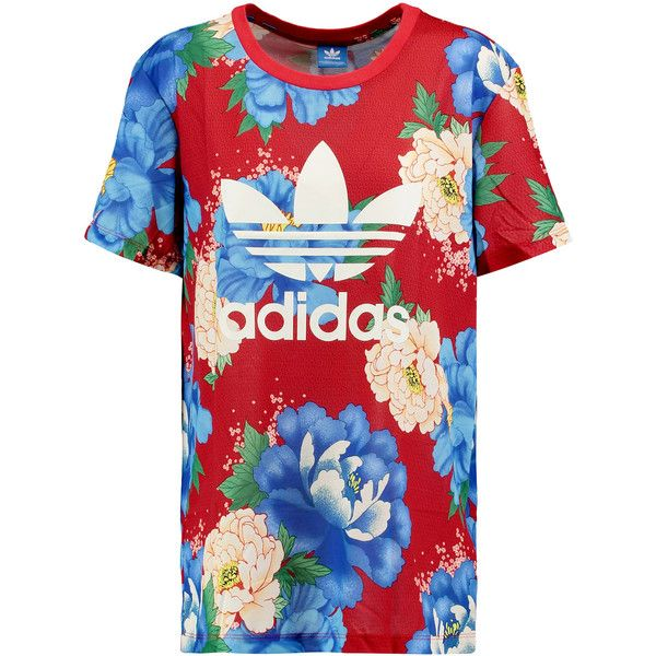 adidas Originals Floral-print jersey T-shirt ($28) ❤ liked on ...