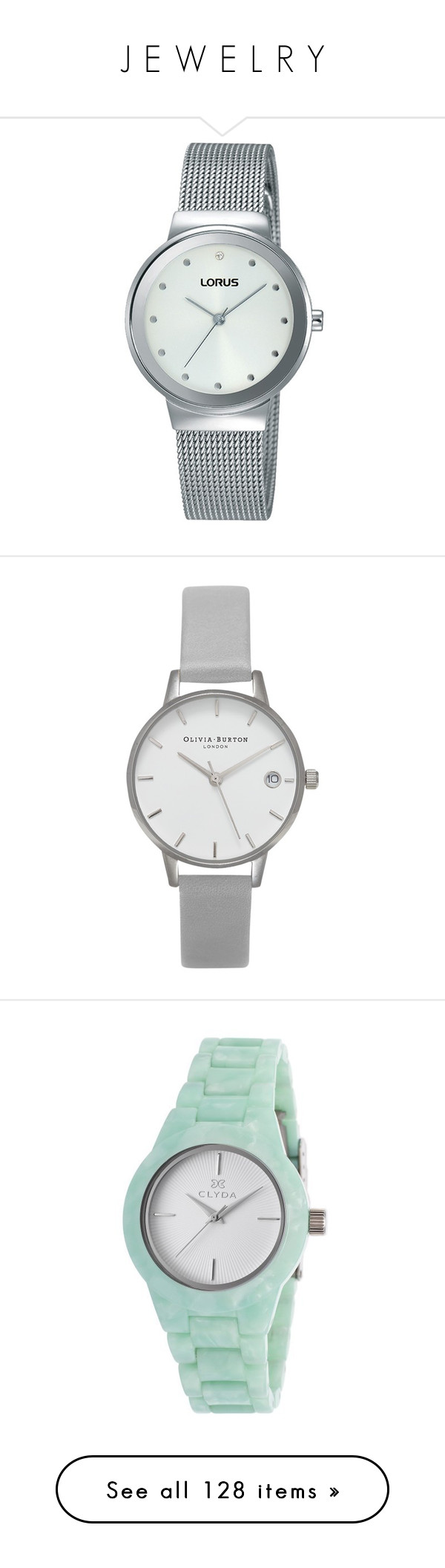 """J E W E L R Y"" by southerncomfort ❤ liked on Polyvore featuring jewelry, watches, silver wrist watch, white faced watches, clear watches, silver jewelry, white strap watches, polish jewelry, buckle jewelry and grey watches"