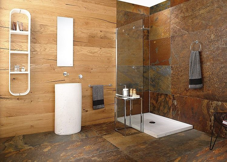 amnager une salle de bain moderne 30 ides et conseils - Salle De Bain Bois Pierre