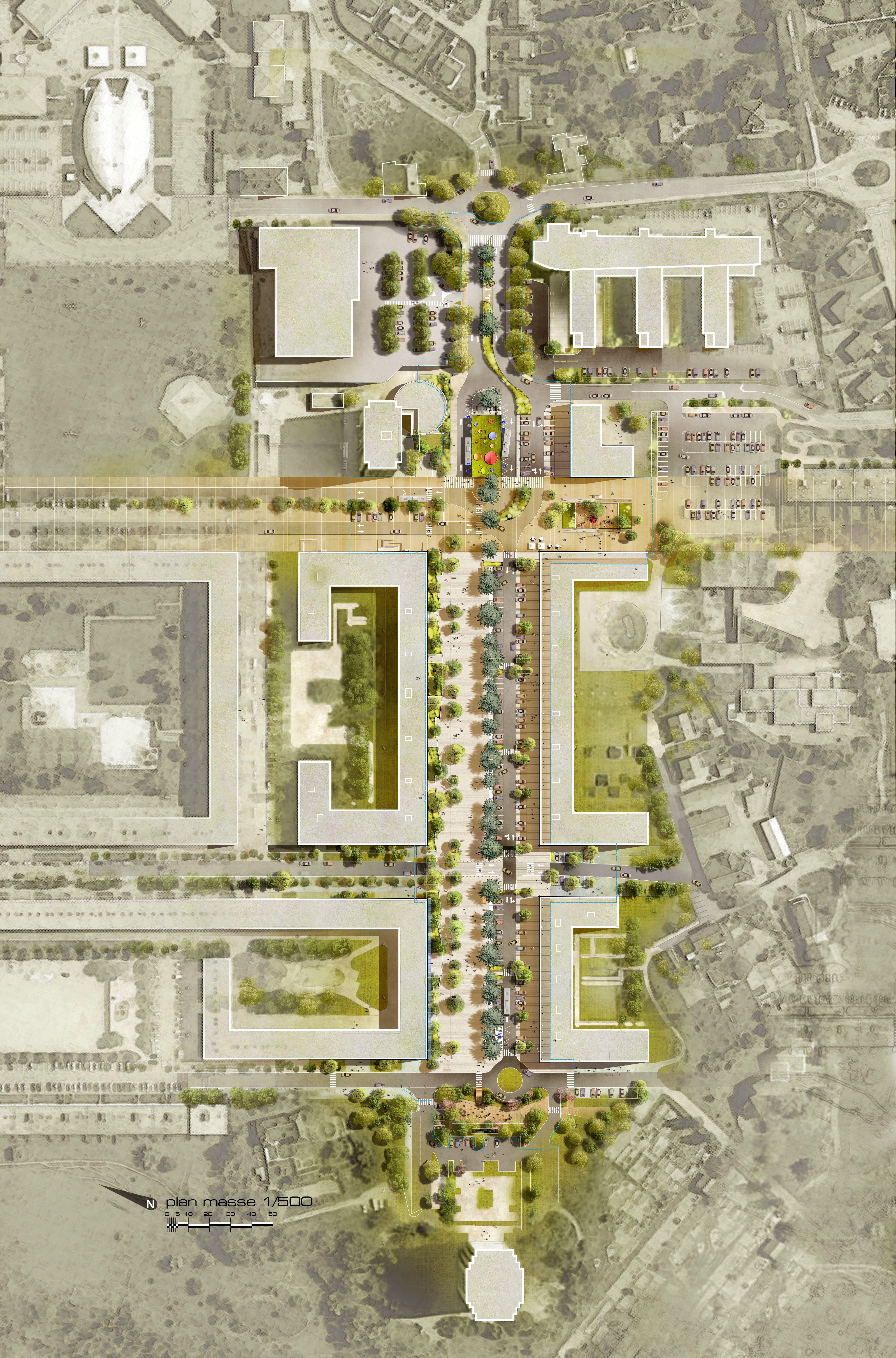 Villesetpaysages Fr Layout Architecture Site Plan Rendering Masterplan Architecture