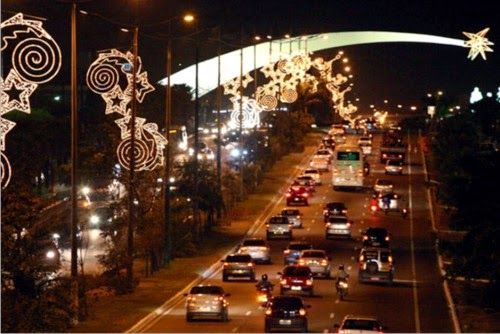 Decoração de Natal nas ruas de Natal, RN.