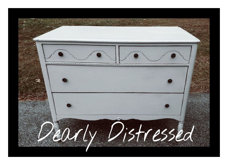 Vintiques irish Linen spruced up this old dresser with some white chalk paint,