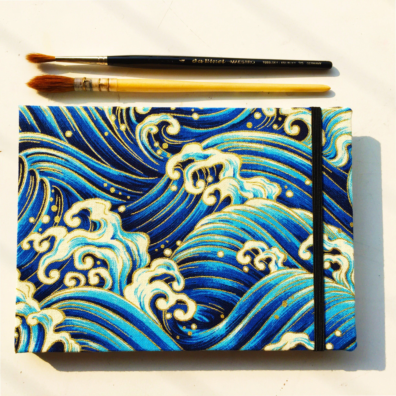 Sea Wave Art Journal Watercolor Sketchbook Linen Cover Travel Etsy Sketchbook Cover Sketch Book Sketchbook Ideas Inspiration