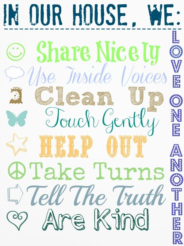House rules free printable cool shtuff pinterest for House rules chart template