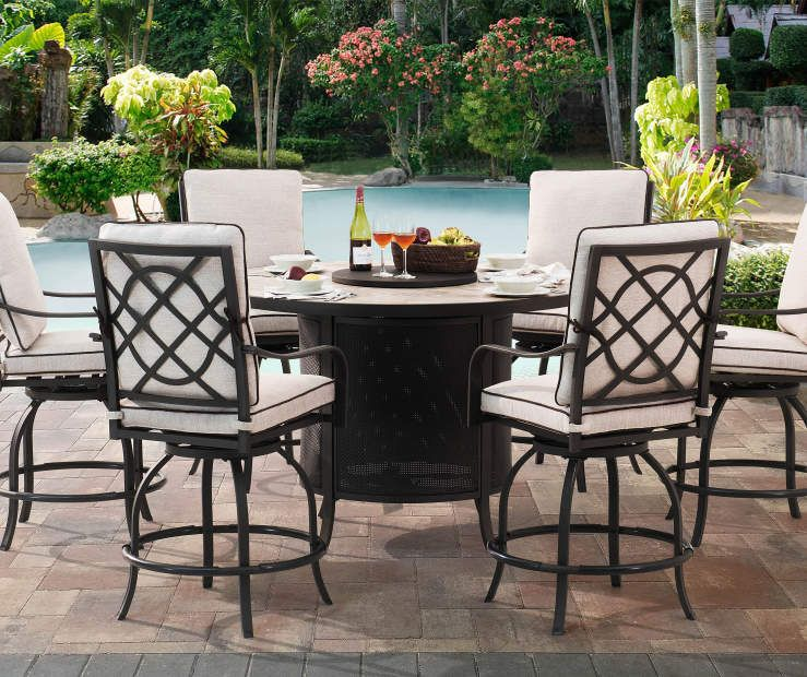 Wilson Fisher Grandview Round High Dining Fire Pit Table 54 Outdoor Fire Pit Seating Fire Pit Table Patio Dining Set High top patio table and chairs