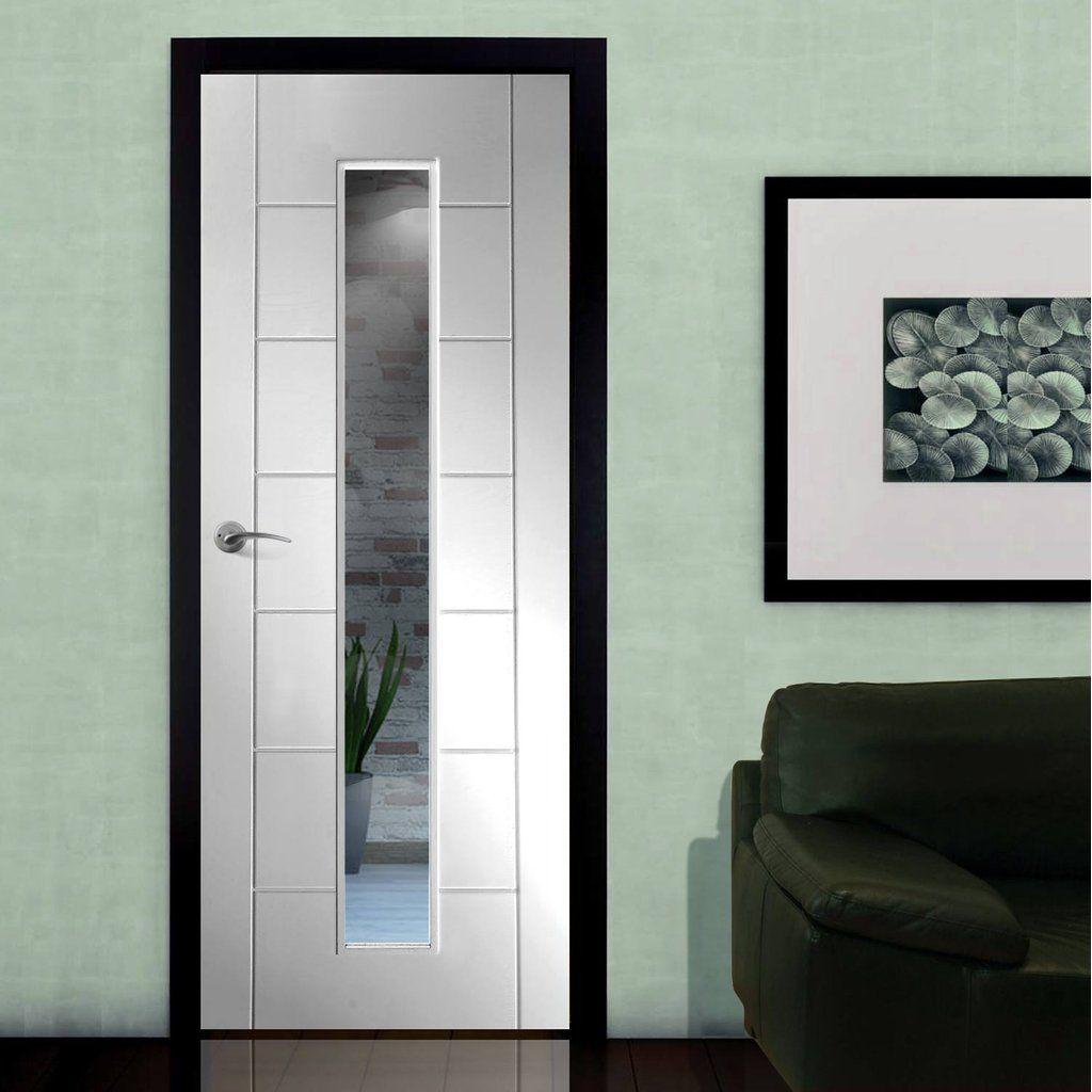 Bespoke Palermo White Primed Glazed Door.  #bespokedoor #internalglazeddoor #whitebespokeinternaldoor