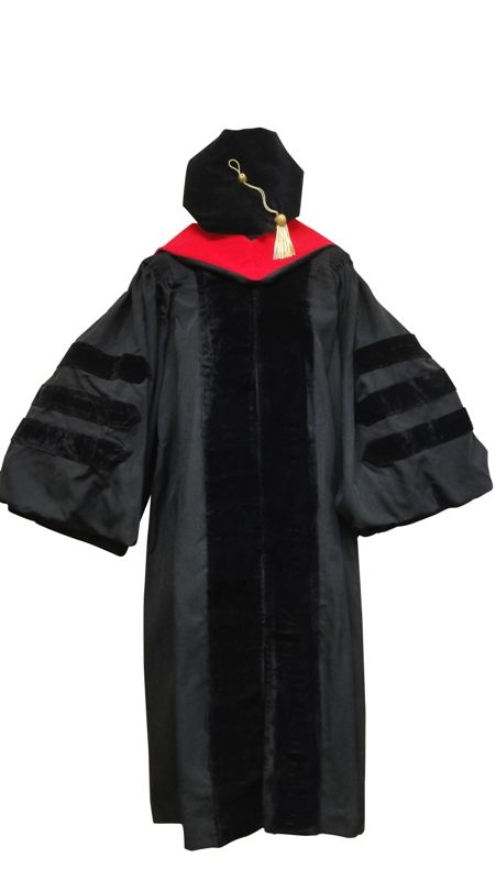 Doctoral Gown, Velvet Tam, Metallic Tassel and Hood Includes ...