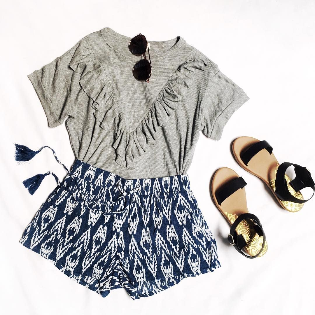 Give your wardrobe a fresh Spring makeover ✨   In Ruffle With You T-Shirt  Islander Printed Shorts  Good Life Cork Sandals  Quay Australia Lickety Split Sunglasses