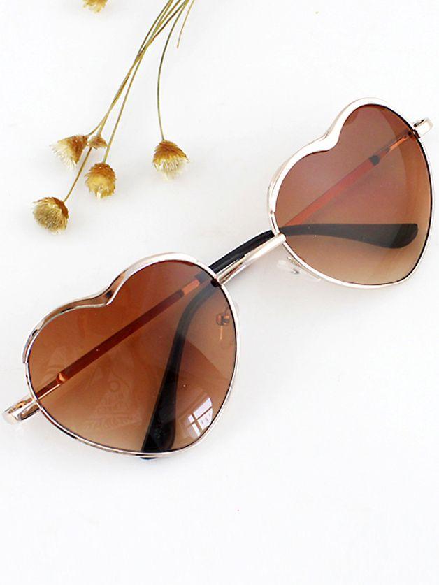 Sonnenbrille mit Gläser im Herz Form-gold | Accessories | Pinterest