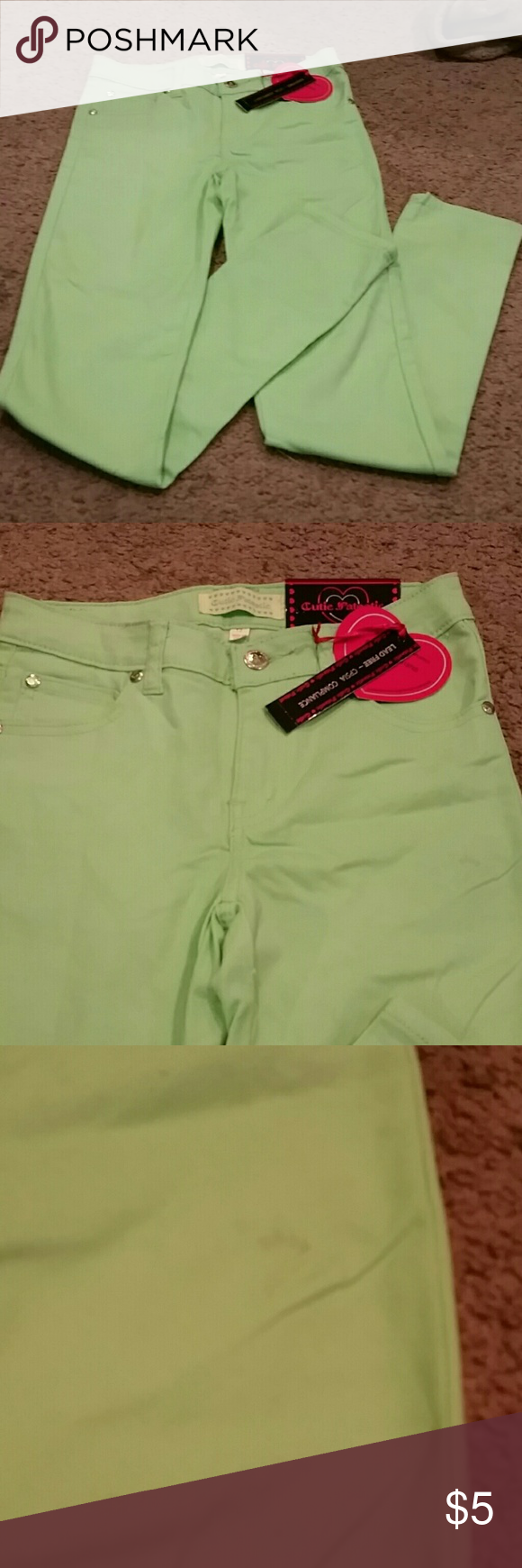 Girls pants Green pants for girls. NWT, but there is a small stain on left thigh that may wash out. cutie patootie Bottoms Jeans