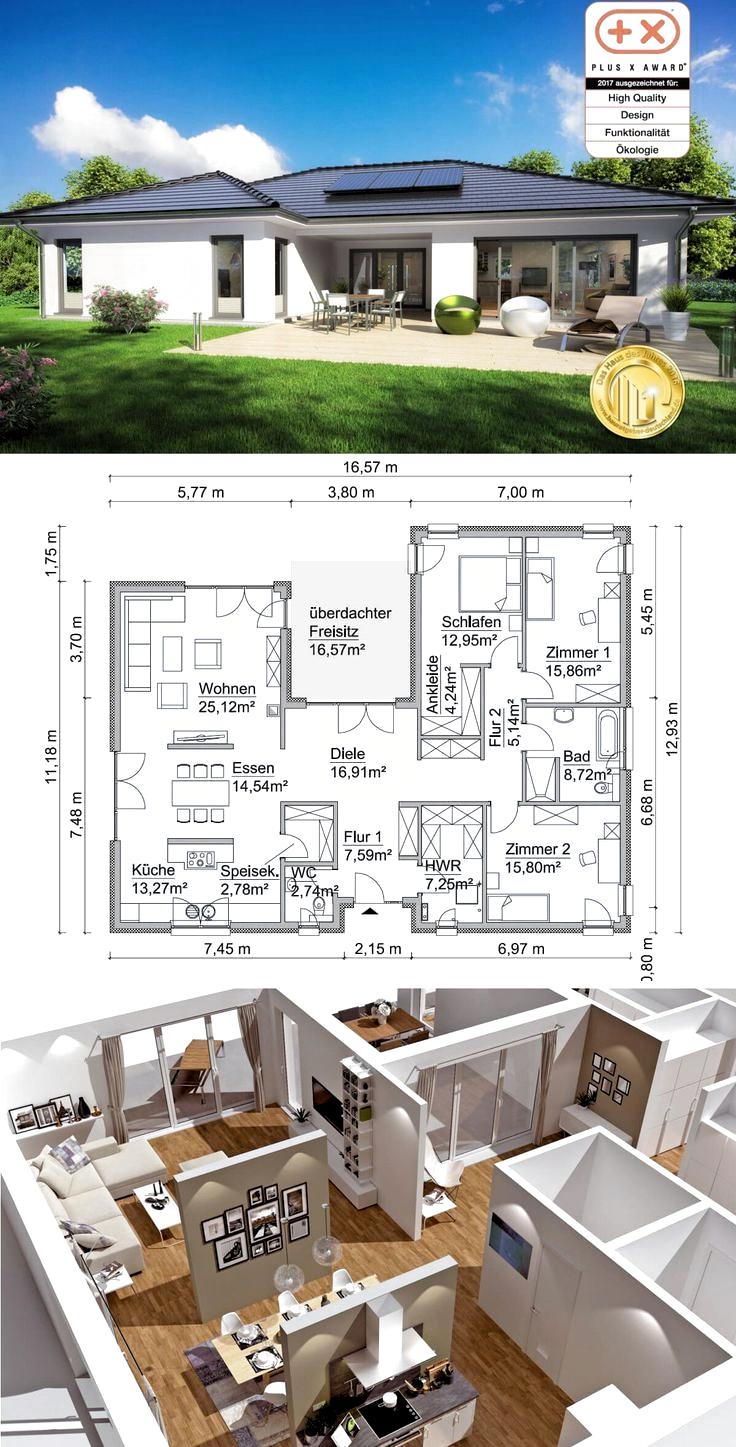 Bungalow mit Walmdach Architektur und überdachter Terrasse   Haus ...
