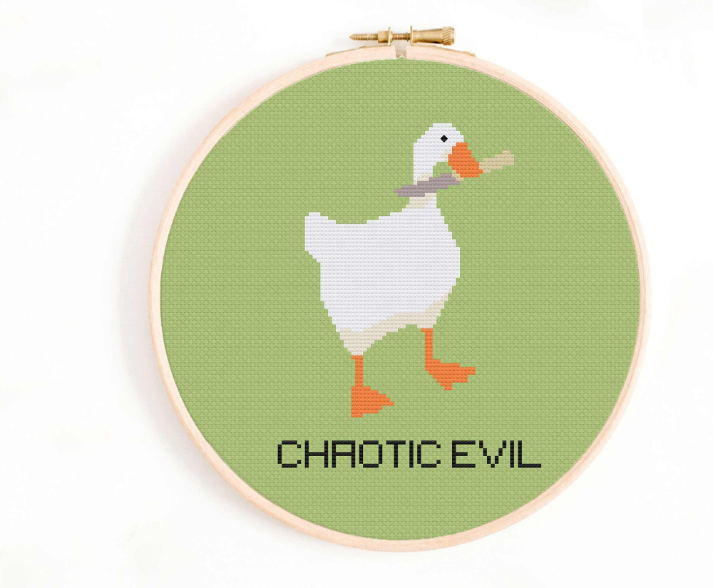 Photo of Goose Cross Stitch Pattern – Chaotic Evil Cross Stitch Pattern – Evil Goose