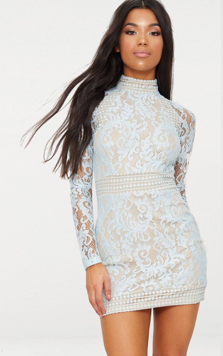45dccfcbe2 Isobel Dusty Blue Lace High Neck Bodycon Dress in 2019