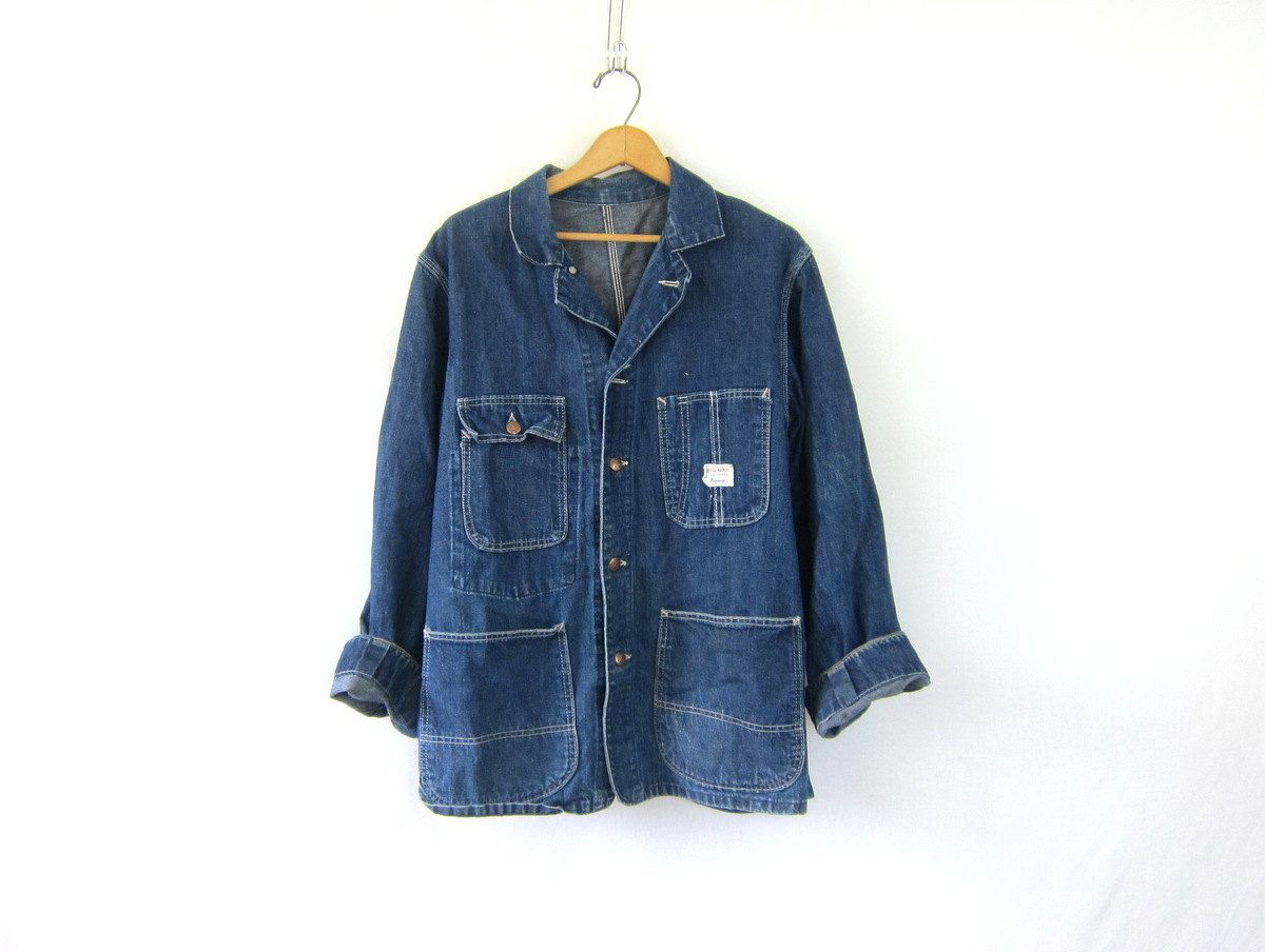 a384009b833 1950s Vintage Sanforized Denim Chore Jacket. BIG MAC Denim Jean Jacket.  Penneys Denim tomboy work barn coat   distressed big pockets by  dirtybirdiesvintage ...