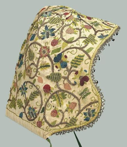 C1600, English. Lady's Coif Of Embroidered Linen  Needs attribution
