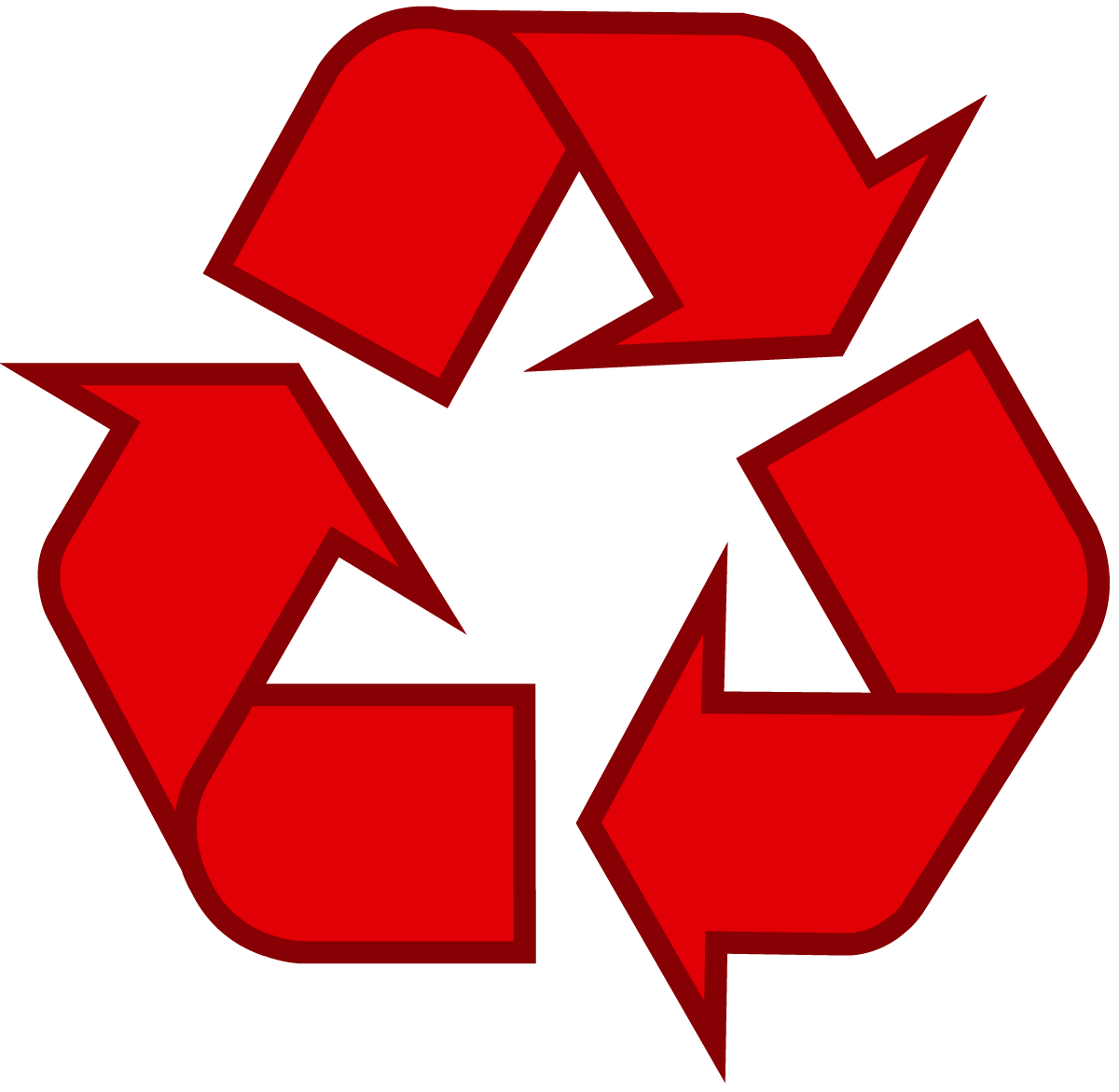 Red universal recycling symbol / logo / sign http//www
