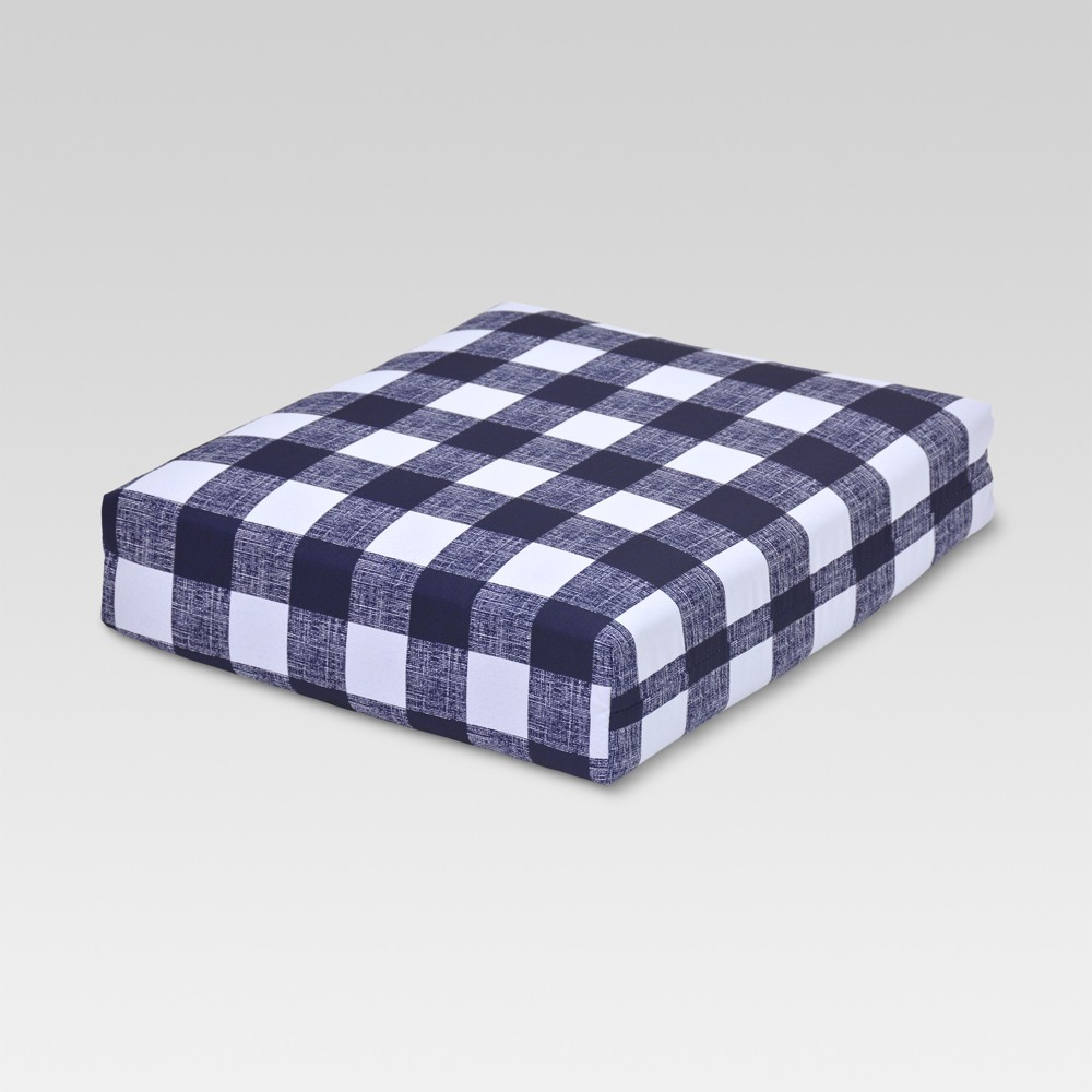 Outdoor Deep Seat Cushion Buffalo Plaid Blue Threshold