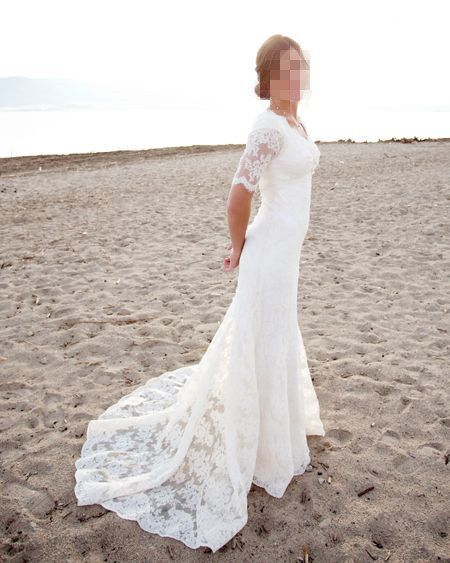 Half sleeves elegant lace beach wedding dress by Yukigown on Etsy, $389.00