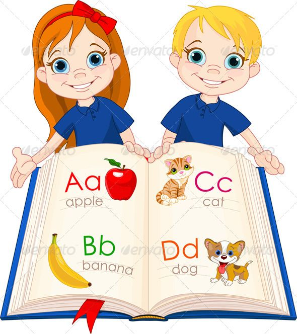 Two Kids and ABC Book   Cartoon kids, Kids school, School ... (590 x 664 Pixel)