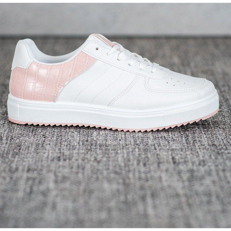 Shelovet Stylowe Buty Na Platformie Biale Rozowe Adidas Gazelle Sneaker Shoes Adidas Sneakers