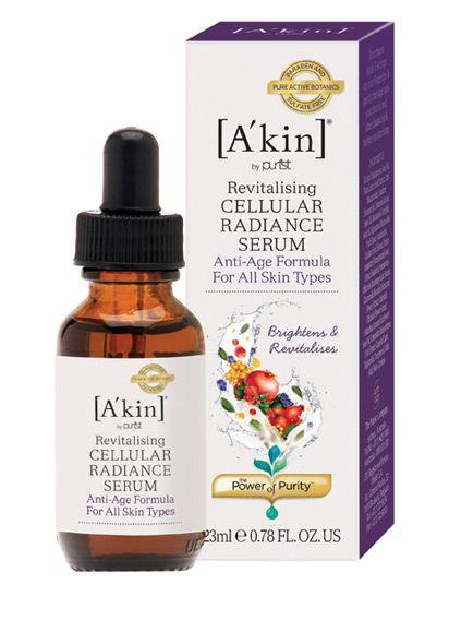 [A'kin] Cellular Radiance Serum - serum anti-age natural, feito com a combinação de extratos vegetais orgânicos, que agem na elasticidade e textura da pele, além de melhorar o aspecto de rugas finas. Contém óleo de Echium, extrato romã, camomila, calêndula, rosa mosqueta, amaranto. Vende online, lojas de cosméticos na Austrália. Preço Médio: AUS$45. #cosmeticdetox #antiage #antirugas #organico #organic #skincare #vegan #crueltyfree