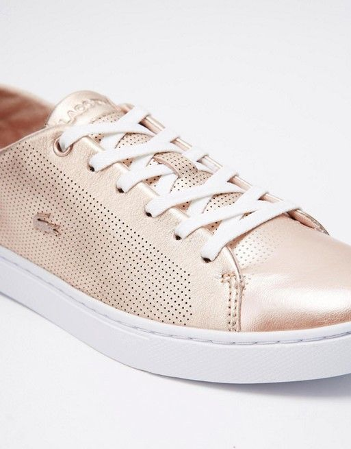 b047c2aa9 Lacoste Showcourt Lace 2 Rose Gold Leather Sneakers in 2019