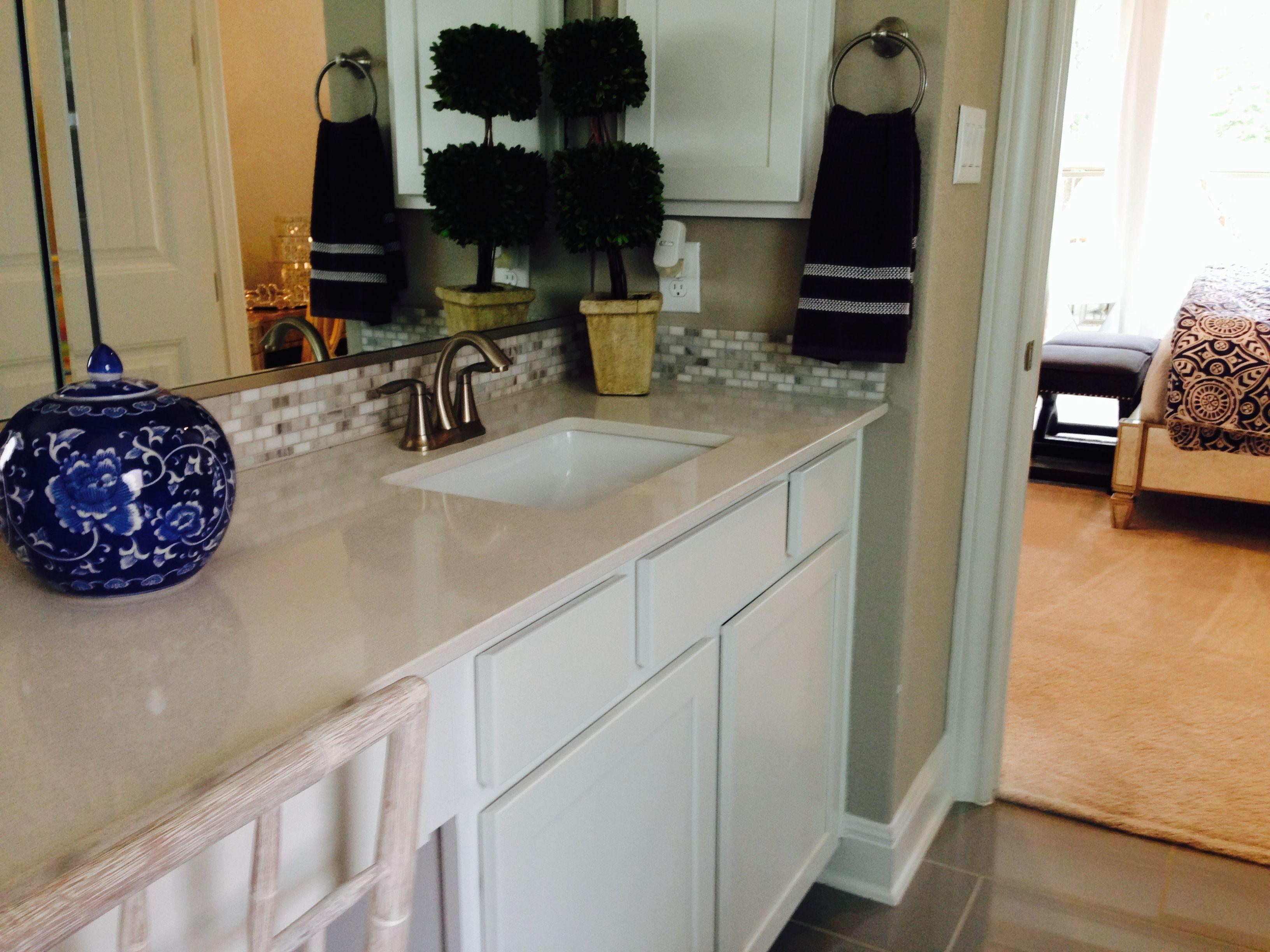 Master Bath Vanity Silestone Counter With Decorative Mosaic Tile Backsplash