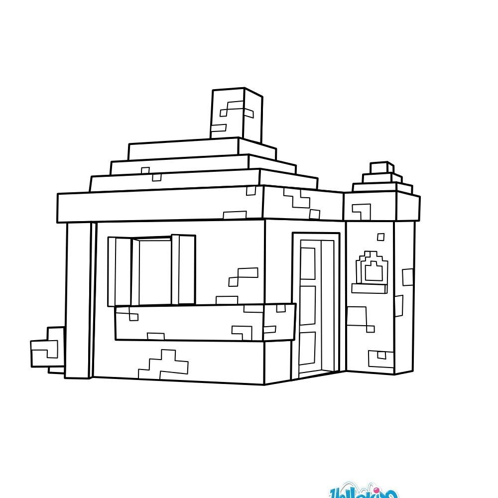 House coloring page from Minecraft video game. More
