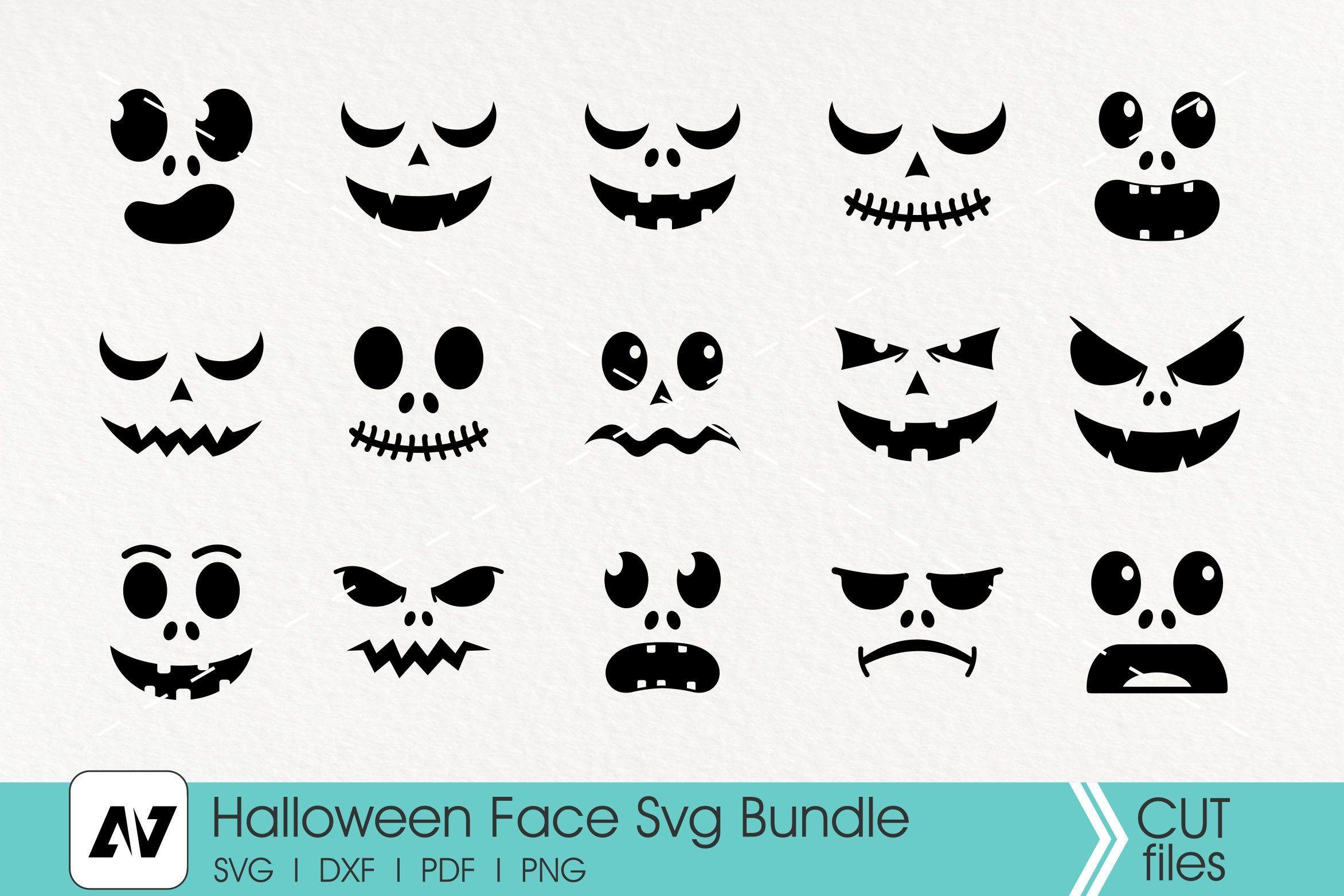 Halloween Face Svg Scary Face Svg Pumpkin Face Svg Etsy