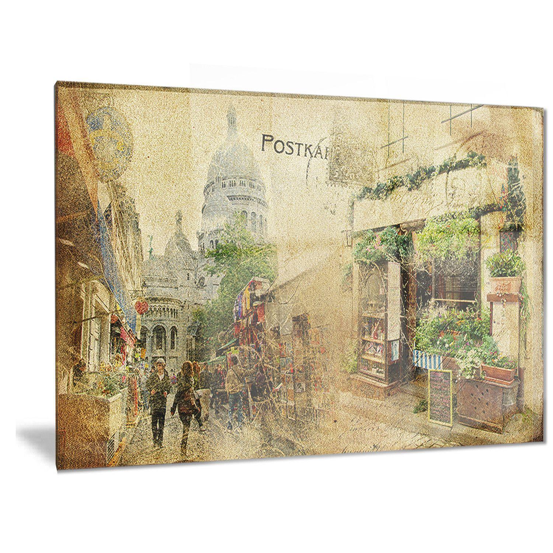 Designart \'Vintage Parisian Cards\' Contemporary Metal Wall Art by ...