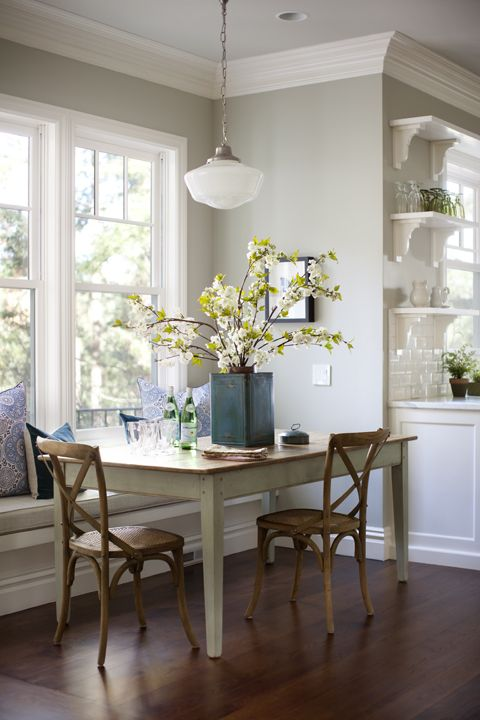 This Old House - neat little dining area. Center piece on table.