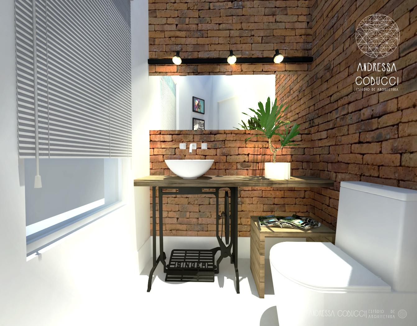 Lavabo | Banheiro | Tijolinhos aparentes e pé de máquina de costura ...